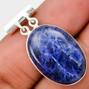 Natural Deep Blue Sodalite Pendant Solid Silver